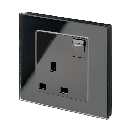 RetroTouch Single Switched Plug Socket 13A Black Glass PG 00170